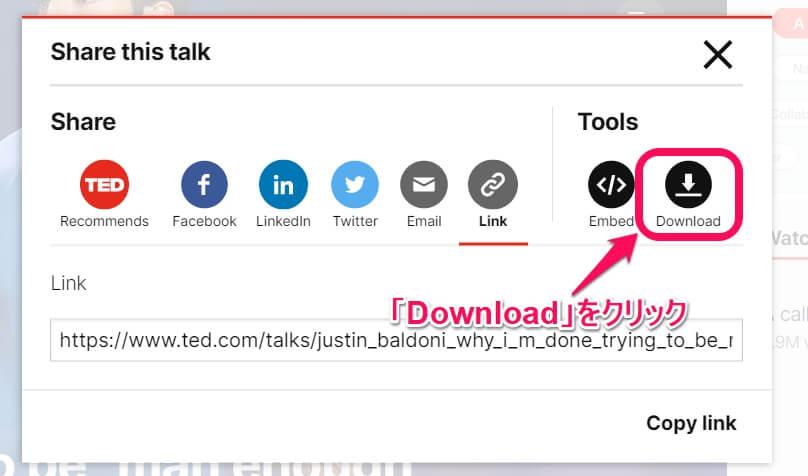 「Download」をクリックしてSubtitle(字幕)を選択する